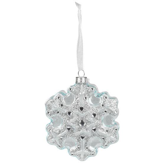 Polar Ice Glass Snowflake Ornament - 4.75in
