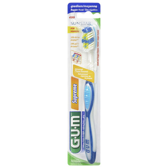 G.U.M Tooth Brush Supreme with Cheek and Tongue Cleaner - Medium