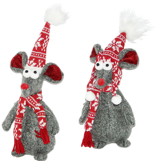 Christmas Mice Standing with Scarf - 8in