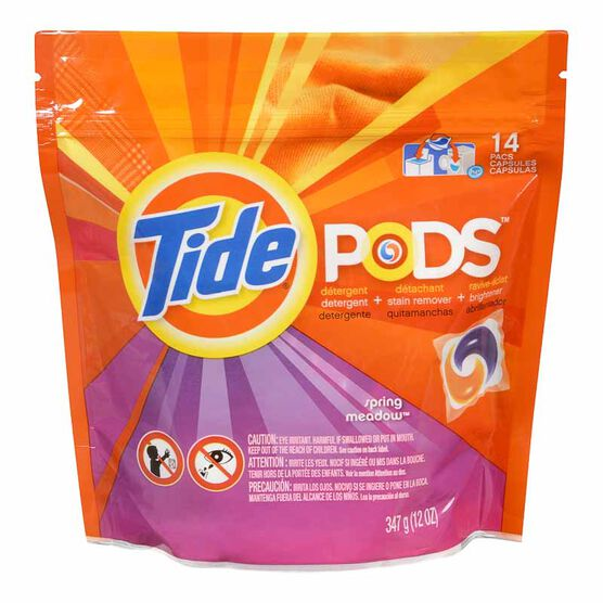 Tide Pods Detergent with Stain Remover and Brightener - Spring Meadow - 14's