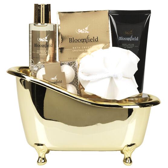 Bloomfield Bath Caddy Gift Set - Golden Vanilla Embers - 5 piece