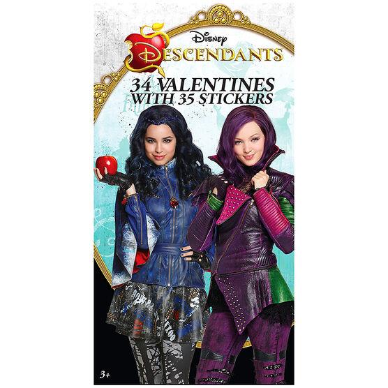 Disney Descendants Valentines with Stickers - 34s - 4153235