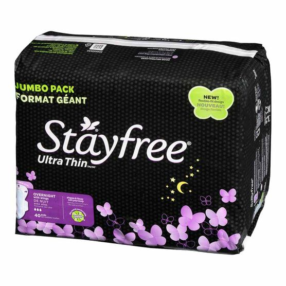 Stayfree Ultra Thin With Wings - Overnight - 40's