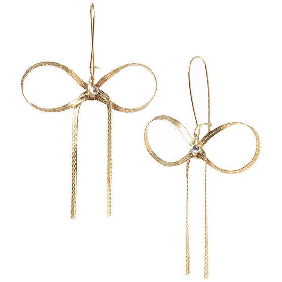 Betsey Johnson Large Bow Drop Earrings - Crystal