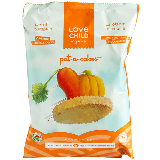 Love Child Organics Pat-A-Cakes Mini Rice Cakes - Carrot and Pumpkin - 40g