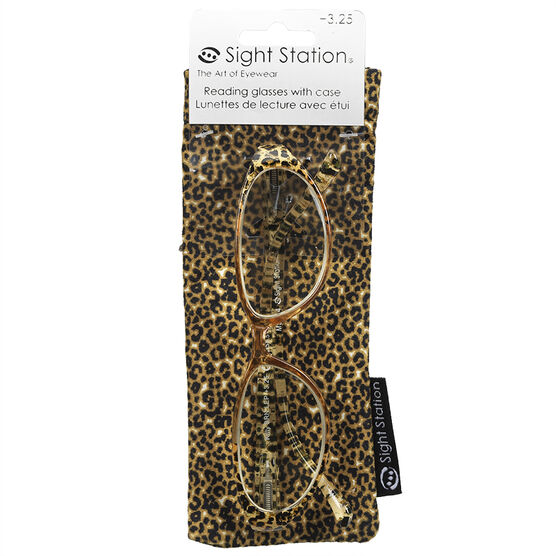 Foster Grant Kitty Reading Glasses with Case - Brown Leopard - 3.25