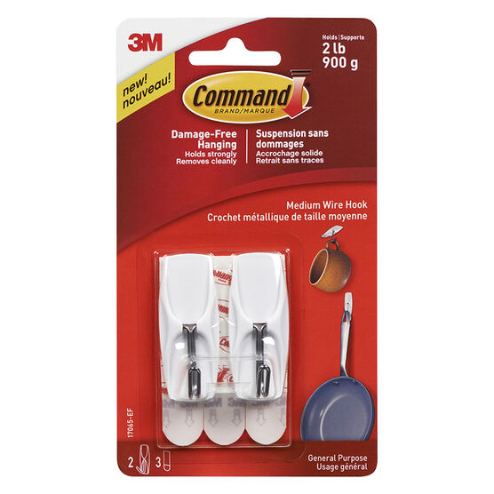 Command™ Medium Wire Toggle Hook - White - 2's