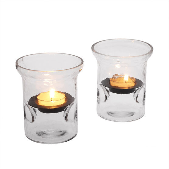 Candle Holder Hammered Glass - 2 piece
