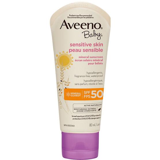 Aveeno Sensitive Skin Sunscreen Baby - SPF 50 - 80ml