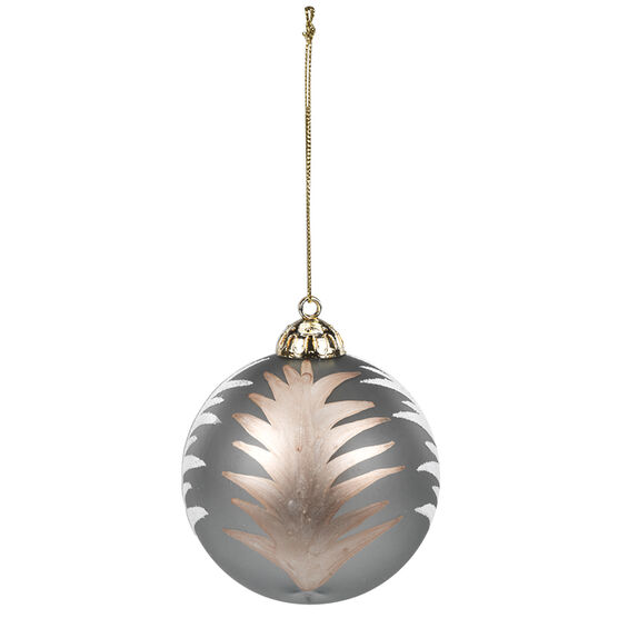 Christmas Ball with Tree Pattern Ornaments - Grey - 8cm