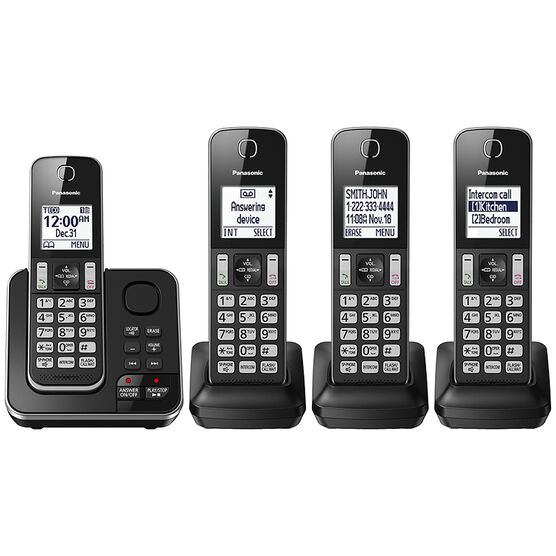 Panasonic 4 Handset Cordless Phone with Answering Machine - Black - KXTGD394B