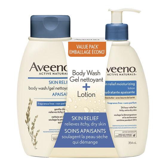 Aveeno Skin Relief Body Wash & Lotion - 2 x 354ml