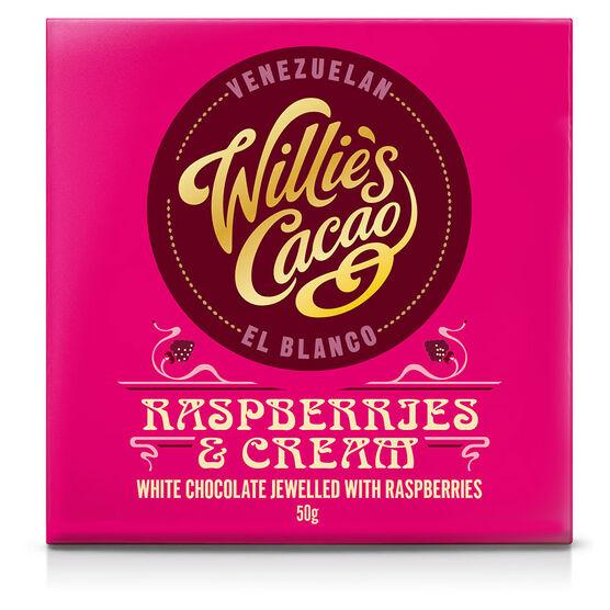 Willie's Cacao Chocolate Bar - Rasperries & Cream - 50g
