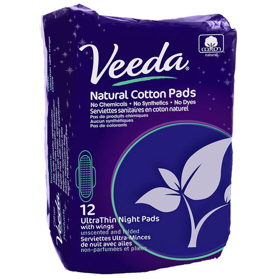 Veeda Natural Cotton  Pads- Ultra Thin Nights - 12's