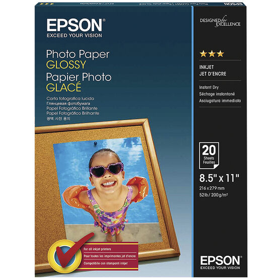 Epson Glossy Photo Paper - 8.5 x 11inch - 20 sheets - S041141