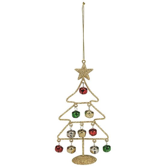 Christmas Tartan Tree With Bells Ornaments - 5.6in