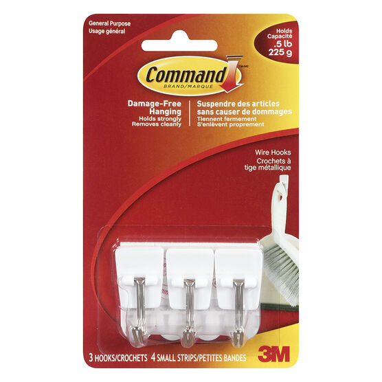 Command™ Small Wire Hooks - White - 3's