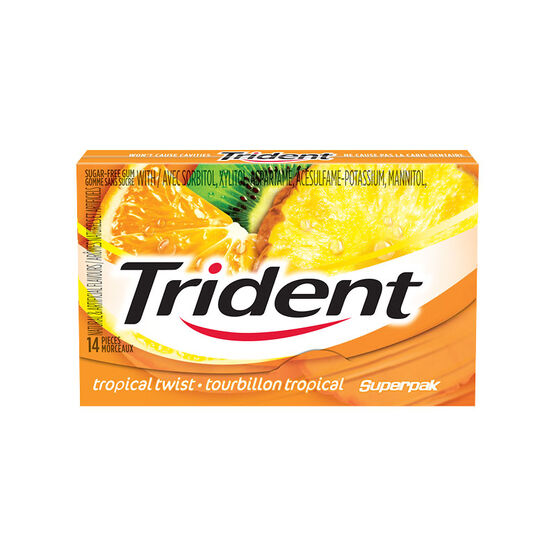 Trident Sugarless Gum - Tropical Twist - 14's