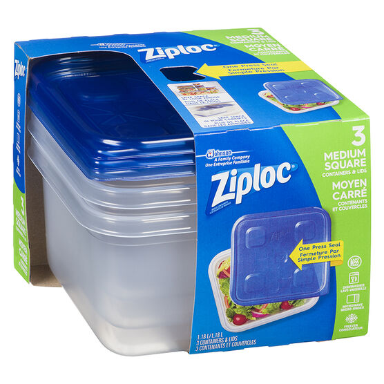 Ziploc Square Containers - Medium - 3's