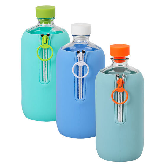 Lab O Glass Water Bottle with Silicone Sleeve - Assorted - 500ml
