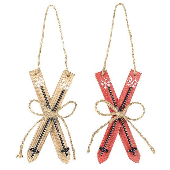 Winter Wishes Wood Skis Ornament - 4.7in - Assorted