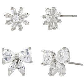 Betsey Johnson Cubic Zirconia Flower Duo Earrings - Crystal