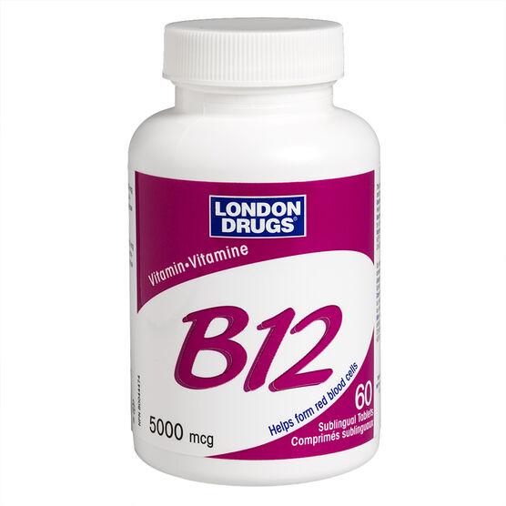 London Drugs Vitamin B12 Sublingual Maximum Strength - Cherry - 5000mcg - 60's