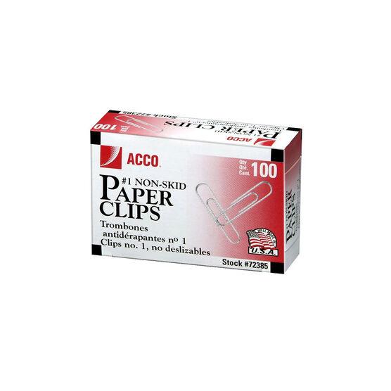 ACCO # 1 Non-Skid Paper Clips - 100's