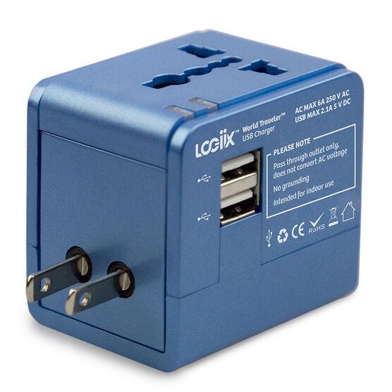 Logiix World Travel Dual USB - Blue - LGX12494