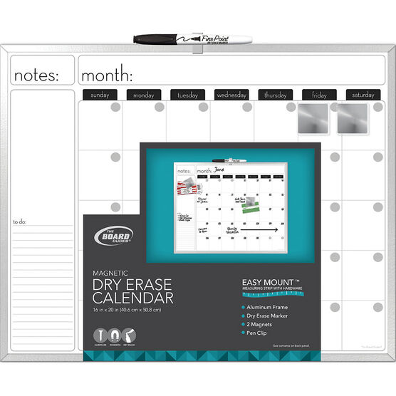 Board Dudes Framed Magnetic Dry Erase Calendar - 20x16 Inches