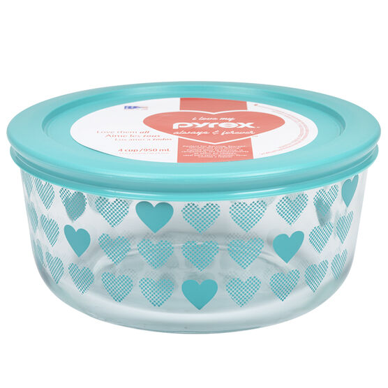 Pyrex Simply Store - Turquoise Hearts - 4 cups