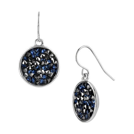 Kenneth Cole Blue and Black Crystal Drop Earrings - Silver Tone