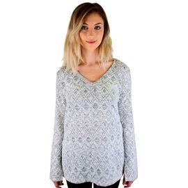 Lava Jacquard - V-Neck Sweater - Grey