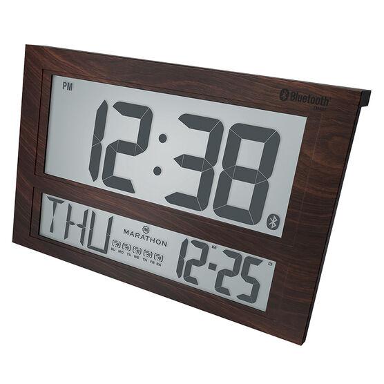 Marathon Atomic Blue Tooth Clock - Wood - CL800003WD