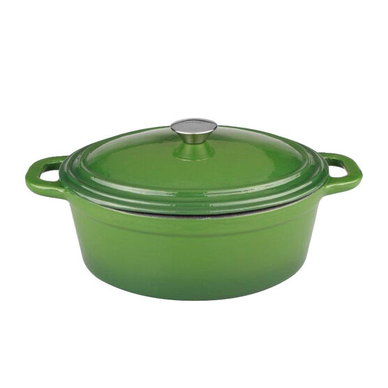 Neo Cast Iron Oval Covered Casserole - Green - 8qt