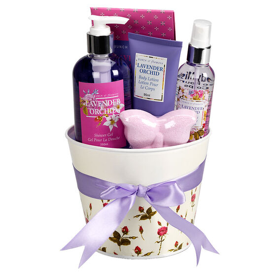Bunch of Flowers Tin Bucket - Lavender Orchid - 5 piece
