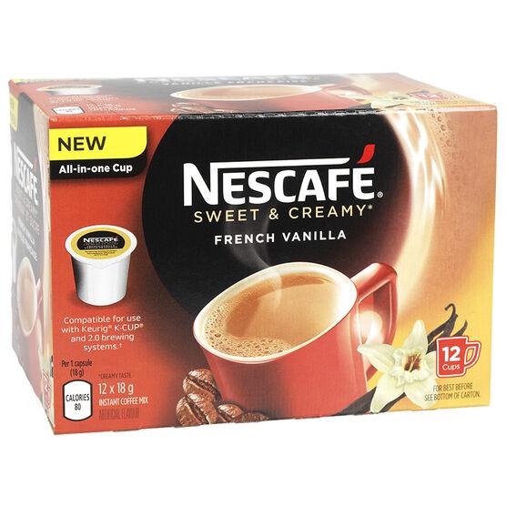 Nescafe Sweet & Creamy Coffee Pods - French Vanilla - 12 Servings