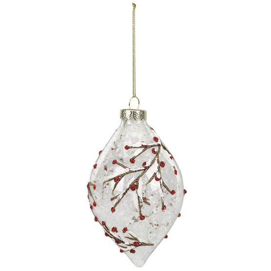 Wild Berries Glass Ornament - Clear - 5.3in