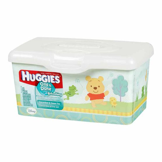 Huggies One & Done Refreshing Wipes - Cucumber and Green Tea - 64's