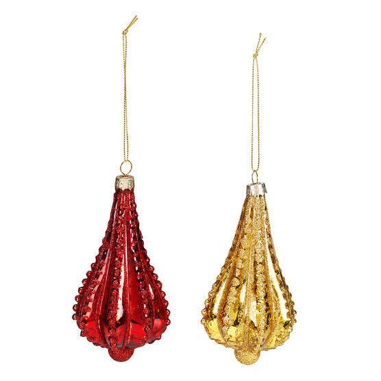 Christmas Tartan Beaded Drop Ornament - 11.7cm