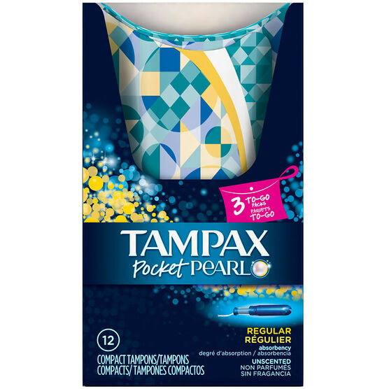 Tampax Pocket Pearl Compact Tampons To Go - Regular - 12's