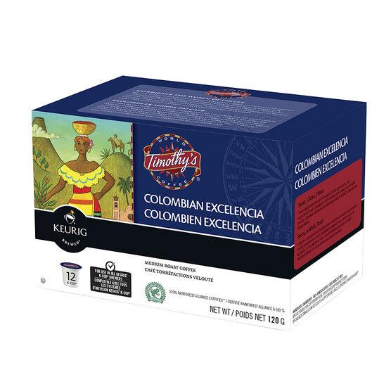 K-Cup Timothy's Medium Roast Coffee - Columbian Excelencia - 12 Servings