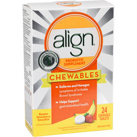 Align Probiotic Supplement Chewables - Banana Strawberry Smoothie - 24's