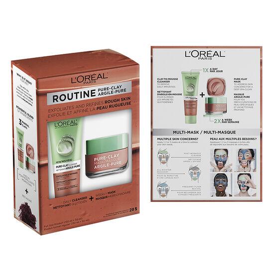 L'Oreal Routine Pure-Clay - Exfoliate & Refines Rough Skin - 2 piece