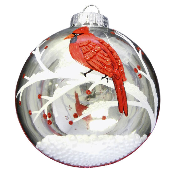Wild Berries Cardinal Ornament - Red - 4in