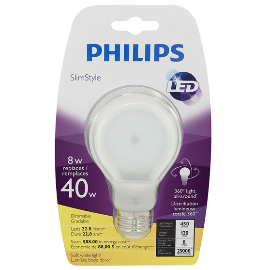 Philips Slimstyle LED - Soft White - 8W=40W
