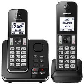 Panasonic 2 Handset Cordless Phone with Answering Machine - Black - KXTGD392B