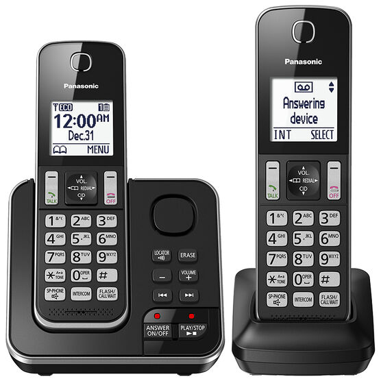 Panasonic 2 Handset Cordless Phone with Answering Machine - Black - KXTGD392B