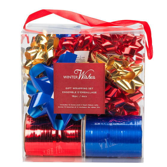 Winter Wishes Bow & Ribbon Set - Red/Gold/Blue - 16 piece