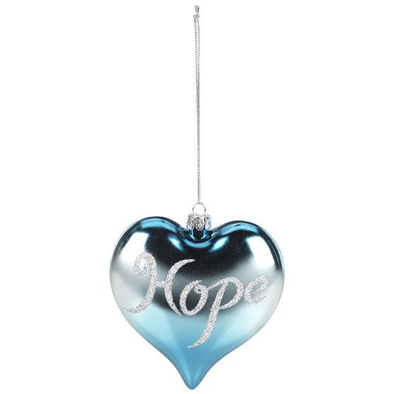Polar Ice Plastic Heart Ornament - Hope - 93mm